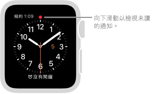 當你有通知需要注意時,錶面上 12 點鐘位置的上方會顯示紅色圓點。 向下滑動檢視。
