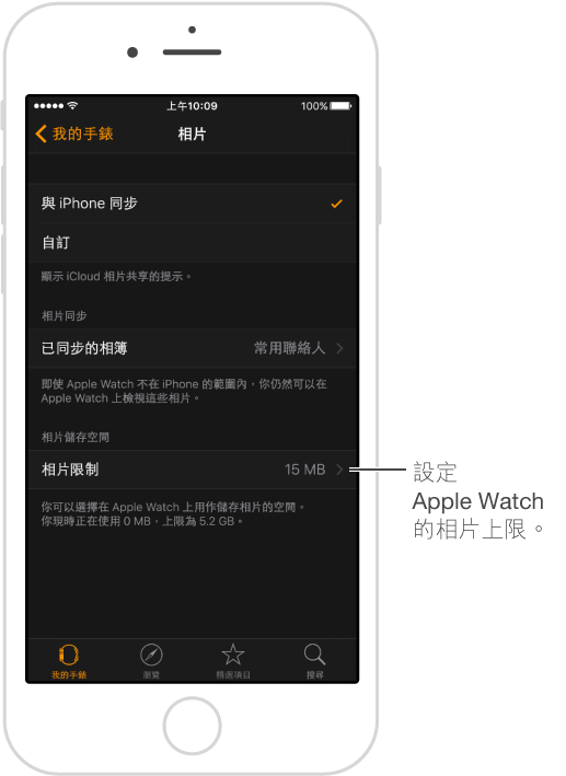 iPhone 上 Apple Watch App 中的「相片」畫面,你可以選擇要同步的相簿並設定 Apple Watch 上的「相片儲存空間」限制。