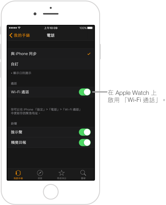 「Wi-Fi 通話」開關位於「電話」設定螢幕的右邊。