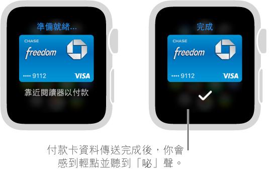 當付款卡資料已傳送時,你會看見剔號並感到輕點。