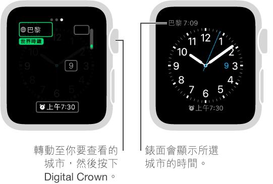 兩個手錶畫面:一個顯示加入其他城市時間到錶面;另一個顯示錶面上所顯示的時間。