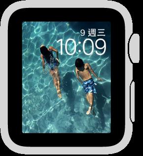「相片」錶面顯示已同步相簿中的相片。