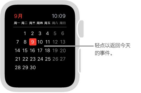月度视图显示完整月份的日历,其中会以红色高亮显示今天视图。 轻点任意地方以返回事件的每日列表。