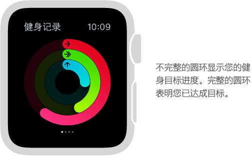 """在""""健身记录""""速览中,彩色的圆环标示在您每日""""活动""""、""""锻炼""""和""""站立""""目标方面所取得的进展。"""