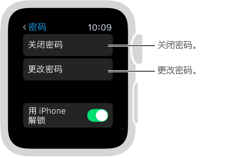 "Apple Watch 上的密码设置屏幕。 横线指向""停用密码""和""更改密码""。"