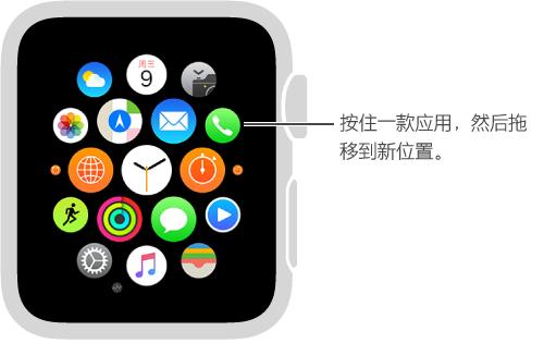 Apple Watch 主屏幕视图中,应用开始抖动且展平为相同大小。 将应用拖移至新位置。
