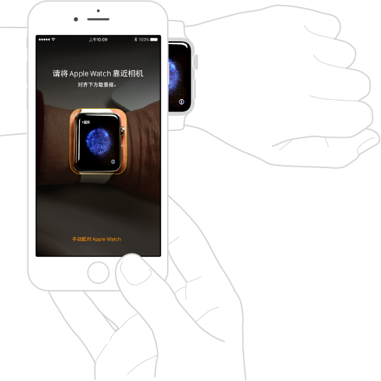 配对插图,显示左臂佩戴 Apple Watch,右手持有配对 iPhone。 iPhone 屏幕显示配对说明和取景框中的 Apple Watch,Apple Watch 屏幕显示配对插图。