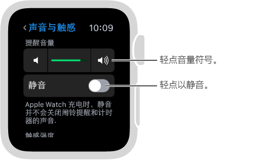 """Apple Watch 上的""""声音与触感""""设置屏幕。 旋转 Digital Crown 表冠或者轻点音量符号来调高或调低铃声和提醒的音量。 轻点""""静音""""以将 Apple Watch 静音。"""