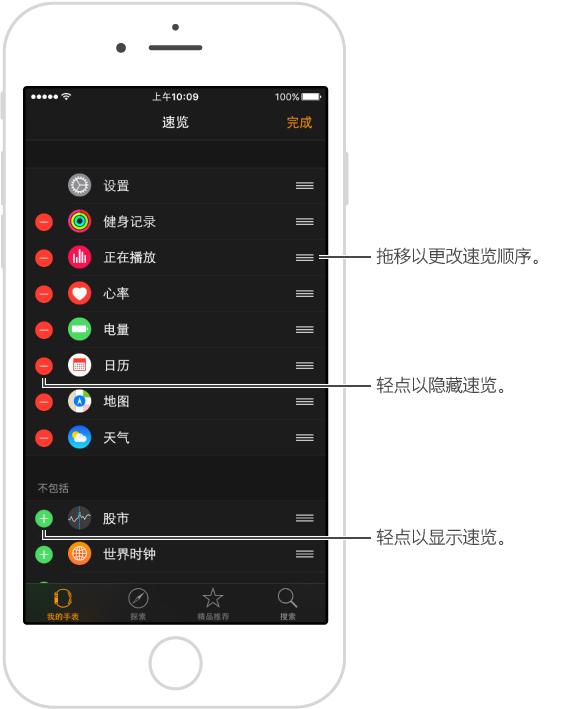 重新排序按钮位于屏幕右端。