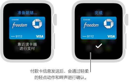 付款卡信息发送后,您会看到一个勾号并感到轻点了一下。