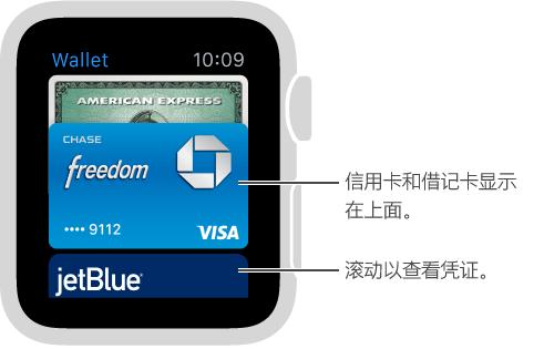 Apple Watch 上的 Passbook 屏幕,付款卡显示在凭证上方。