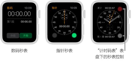 """可通过以下三种方式来使用秒表:使用应用中的数码秒表、使用应用中的指针秒表以及将秒表控制添加到""""计时码表""""表盘。"""