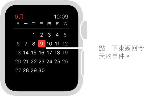 每月顯示方式會顯示完整一個月的行事曆,今天會醒目標示為紅色。 點一下任一處來返回每日的行程列表。