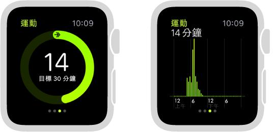「體能訓練」進度以圓圈或「活動記錄」快覽中的圖形顯示。