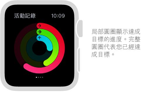 在「活動記錄」快覽中,彩色的圓圈會標示出您每日的「活動」、「運動」和「站立」目標進度。