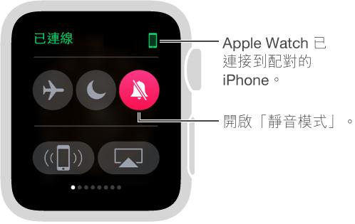 「設定」快覽,您可以看見手錶和 iPhone 的連線狀態,並設定「飛航模式」、「勿擾模式」和「靜音」。 您也可以呼叫您的 iPhone。 已選取「靜音」。