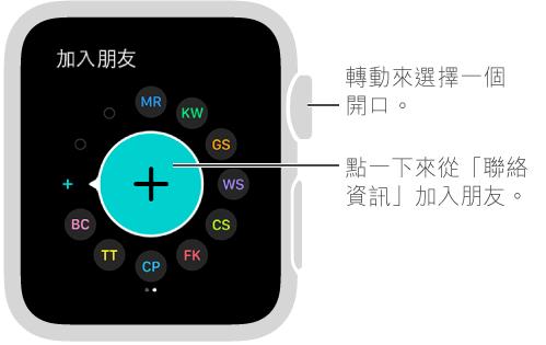 Apple Watch 上的「朋友」畫面。 點一下朋友的姓名縮寫或照片來與對方聯絡。