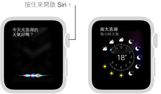 按住 Digital Crown 來詢問 Siri 問題。 畫面顯示詢問 Siri 舊金山的天氣如何,Siri 顯示舊金山的天氣狀況。
