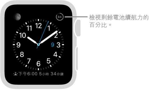 錶面顯示已加入電池百分比功能。