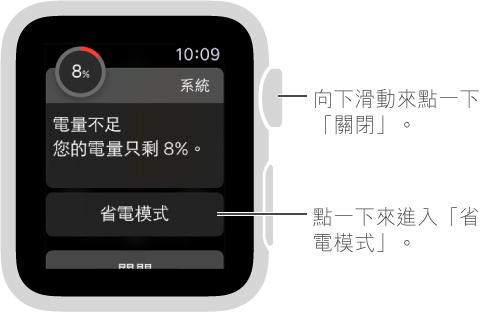 電量過低提示包含一個按鈕,您可以點一下來進入省電模式