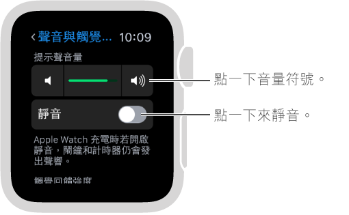 Apple Watch 上的「聲音與觸覺回饋」設定畫面。 轉動 Digital Crown 或點一下音量符號來增加或減小鈴聲和提示聲的音量。 點一下「靜音」來讓 Apple Watch 靜音。