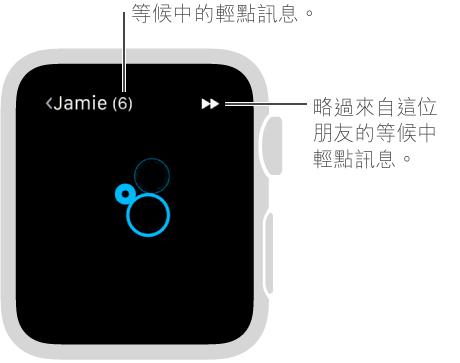 使用手指點一下螢幕來傳送輕點訊息給朋友。