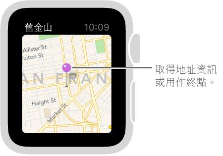 使用地圖大頭針來取得地圖上某一點的約略地址,或是用作路線的目的地。