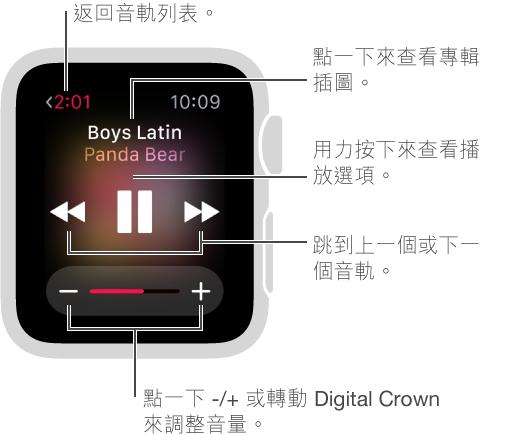 在播放音樂時,點一下左上角的「返回」按鈕來返回音軌列表。 「上一個音軌」、「播放/暫停」和「下一個音軌」按鈕位於螢幕中央。 轉動 Digital Crown 來調整音量。 按下螢幕來隨機播放或重複歌曲,或是從 iPhone 切換到 Apple Watch 上播放音樂。