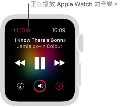 當您播放儲存在 Apple Watch 上的音樂時,一個小的手錶圖像會顯示在左上角的音樂播放時間旁邊。