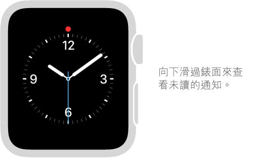 向下滑過任何錶面來查看通知。