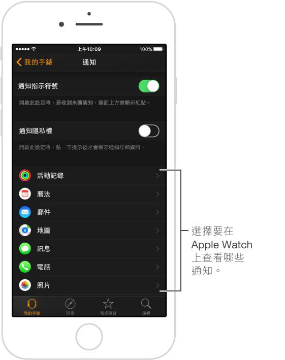 通知的來源會在 iPhone 的 Apple Watch App 中列出。 點一下「我的手錶」,點一下「通知」,然後向下捲動。