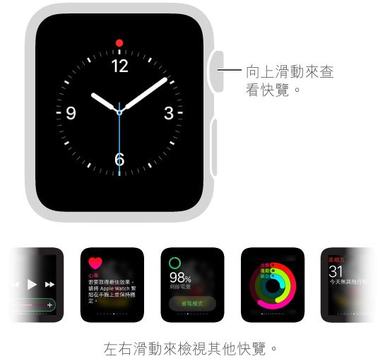 快覽會在您向上滑過錶面時顯示。 您必須看著錶面,而非其他螢幕。