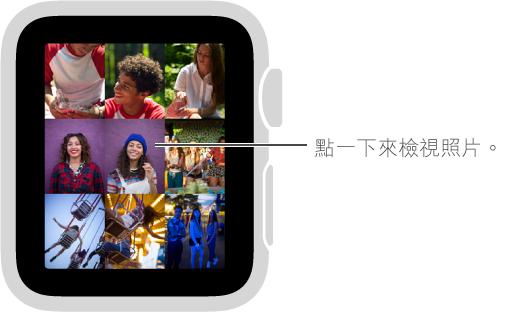 在「照片」App 中,點一下選集中的任何一張照片來檢視。 轉動 Digital Crown 來縮小特定照片以檢視選集。
