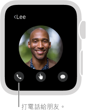 畫面顯示所選朋友的面孔,下方帶有「電話」、Digital Touch 和「訊息」按鈕。 點一下「電話」來打給這名朋友。