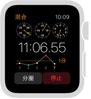 碼錶的畫面顯示 3 支指針的選項(搭配分圈)。