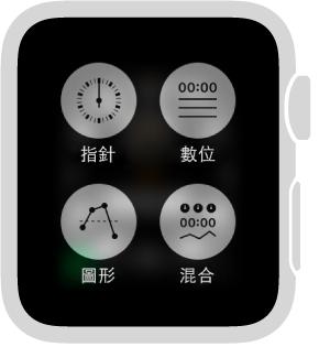 將 Apple Watch 用作碼錶時,按下螢幕來更改格式。 選擇「指針」、「數位」、「圖形」或「混合」。