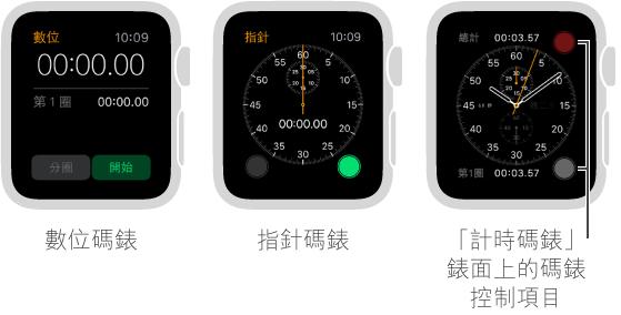 有三種使用碼錶的方式:使用 App 中的數位碼錶、使用 App 中的指針碼錶、在「計時碼錶」錶面加入碼錶控制項目。