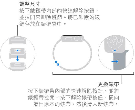 調整錶鏈帶大小和更換錶帶的圖解。