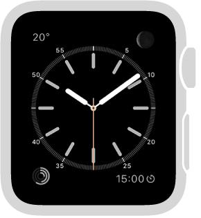 「簡約」錶面,您可以調整指針的顏色並調整錶盤的數字和刻度。 您也可以在該錶面加入這些功能:月相、日出/日落、天氣、活動、鬧鐘、計時器、碼錶、電池電量、世界時鐘和日期。