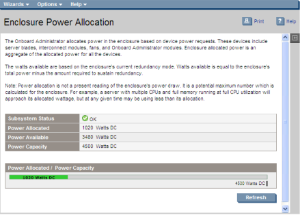 Enclosure power allocation   HP BladeSystem