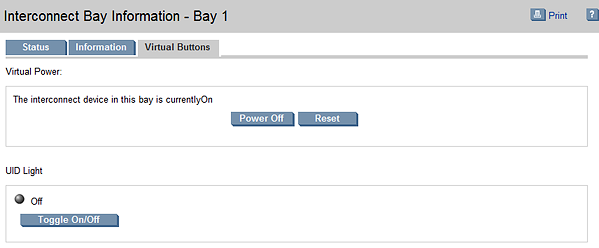 Interconnect Bay Virtual Buttons | HP BladeSystem