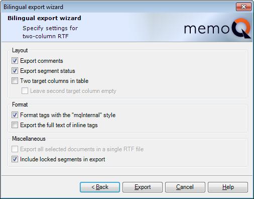 Export bilingual | MemoQ