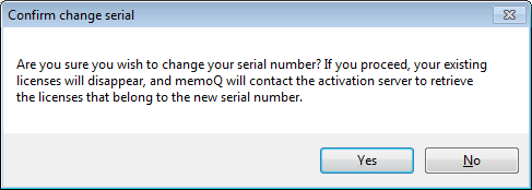Change your serial number | MemoQ