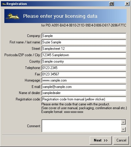 Registration / licence key   Mercalli