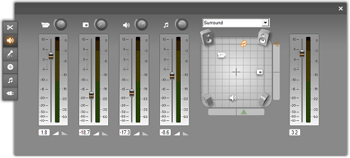 The Volume and balance tool | Pinnacle Studio