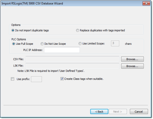 RSLogix 5000 CSV Databases | Web Studio Help
