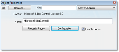ActiveX Control object | Web Studio Help
