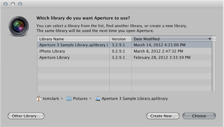 View other libraries, Aperture Help