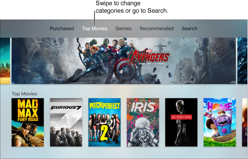 Find and watch iTunes movies or TV shows, Apple TV Help