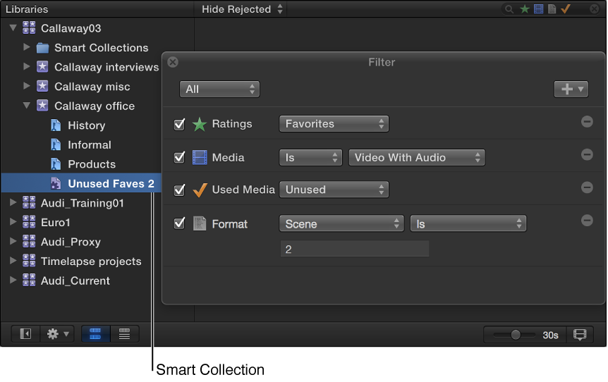 Save searches as Smart Collections, Final Cut Pro Help